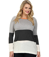 Vince Camuto Plus - Plus L/S Boatneck Wide Stripe Sweater