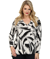 Vince Camuto Plus - Plus L/S V-Neck Playful Strokes Print Sweater