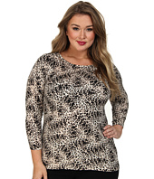 Vince Camuto Plus - Plus L/S Boatneck Animal Legacy Print Sweater