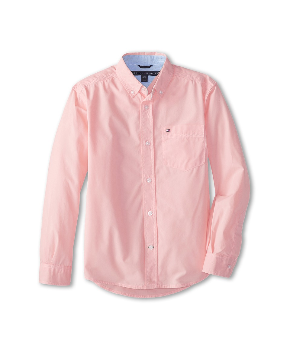 Tommy Hilfiger Kids - Classic L/S Woven Shirt (Big Kids) (Pink Lemonade) Boys Long Sleeve Button Up