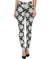 7 For All Mankind - The Highwaist Skinny w/ Contour Waistband in White Rose Jacquard
