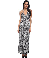 Tbags Los Angeles - Deep-V Ruched Halter Maxi with Triple Braid