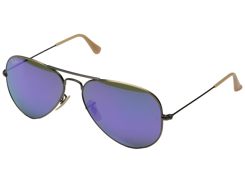 Ray-Ban RB3025 Original Aviator 58mm (Brushed Bronze Demi Shiny Grey Mirror Purple) Metal Frame Fashion Sunglasses