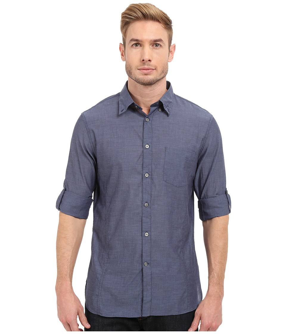 John Varvatos Star U.S.A. - Roll Up Sleeve Shirt w/ Button Down Collar Single Pocket (Marine) Mens Long Sleeve Button Up