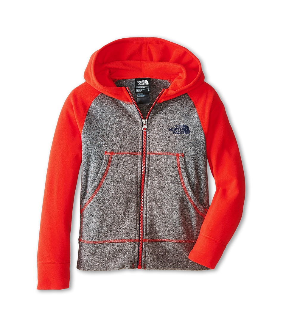 The North Face Kids - Glacier Full Zip Hoodie (Little Kids/Big Kids) (Zinc Grey Heather/Fiery Red) Boy's Sweatshirt