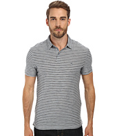 John Varvatos Star U.S.A. - Soft Collar Peace Polo with Vertical Pickstitch & Trapunto Details and Peace Sign Chest Embroidery