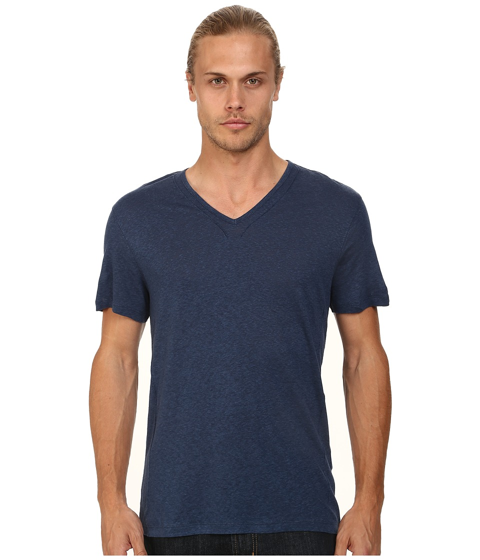 John Varvatos Star U.S.A. - Short Sleeve Knit V-Neck with Pintuck Seam Details (Regal Blue) Mens Clothing