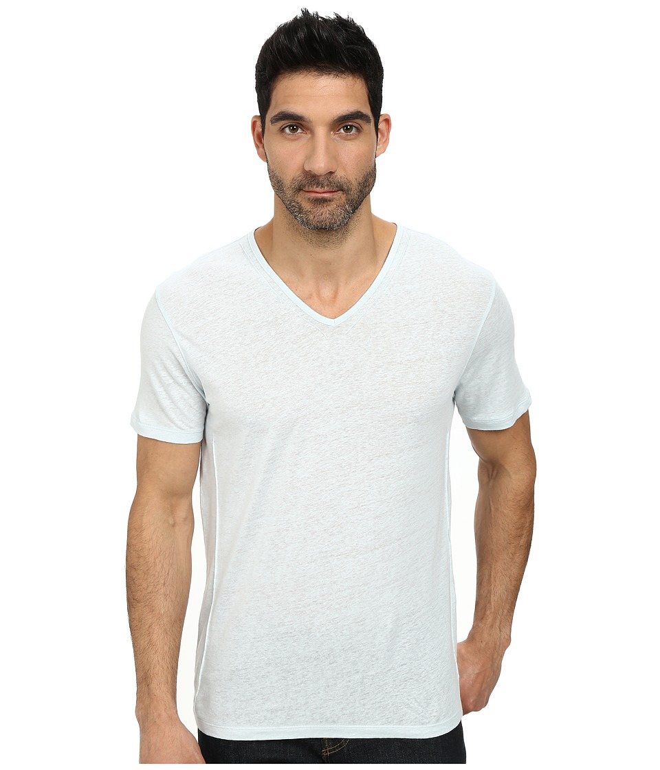 John Varvatos Star U.S.A. - Short Sleeve Knit V-Neck with Pintuck Seam Details