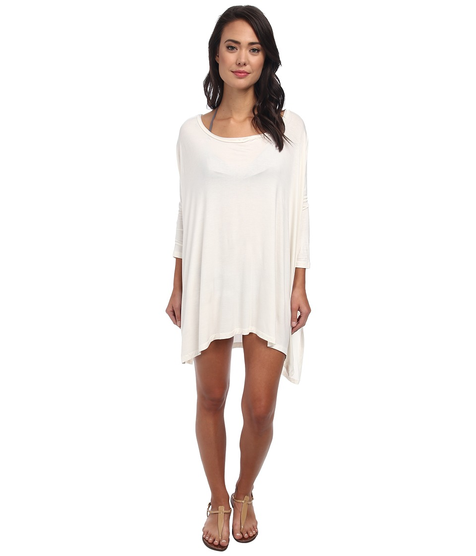 Body Glove Brynn 3/4 Sleeve Tunic Cover Up Ivory Womens Dress
