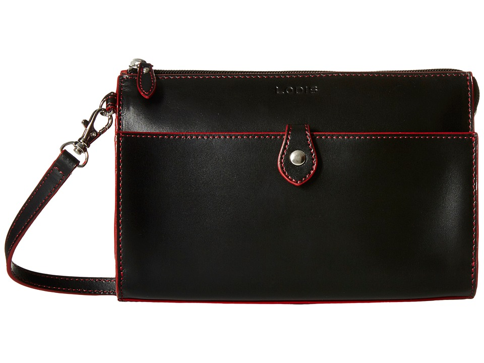 Lodis Accessories - Audrey Vicky Convertible Crossbody Clutch (Black/Red) Clutch Handbags