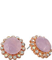 Betsey Johnson - Beaded Heart Pink Ruffled Round Stud Earrings
