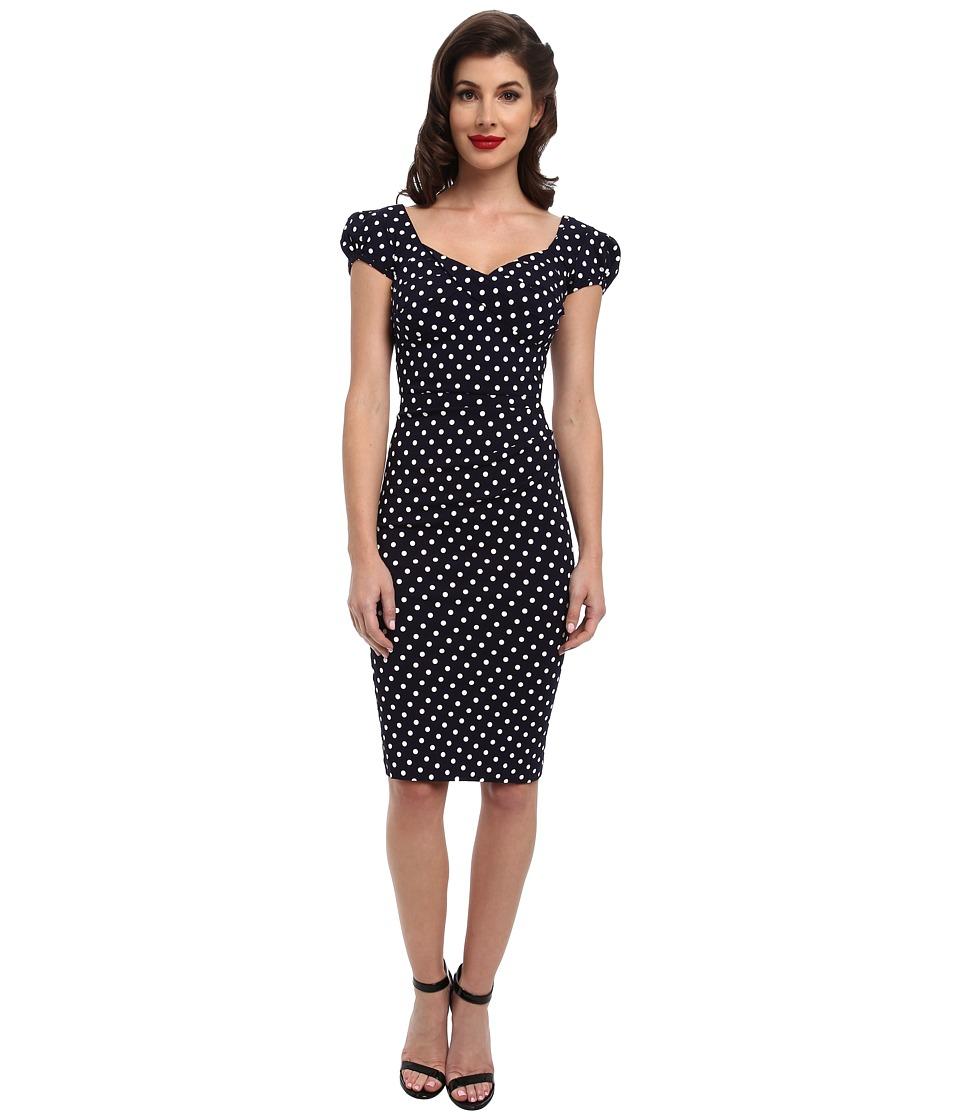 Stop Staring! Billionaire Elegant Twist Front Dress (Navy/White Dot) Women's Dress
