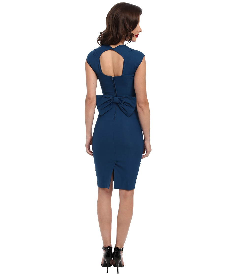 Stop Staring! Love Sweetheart Neckline Dress w/ Bow Back Detail (Peacock Blue) Women's Dress