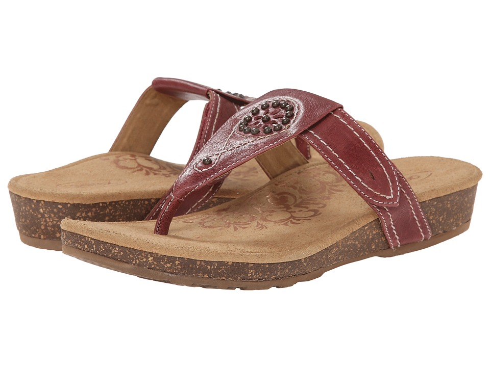 Aetrex Emily Sandalistas Lynco Footbed Aged Red Womens Sandals