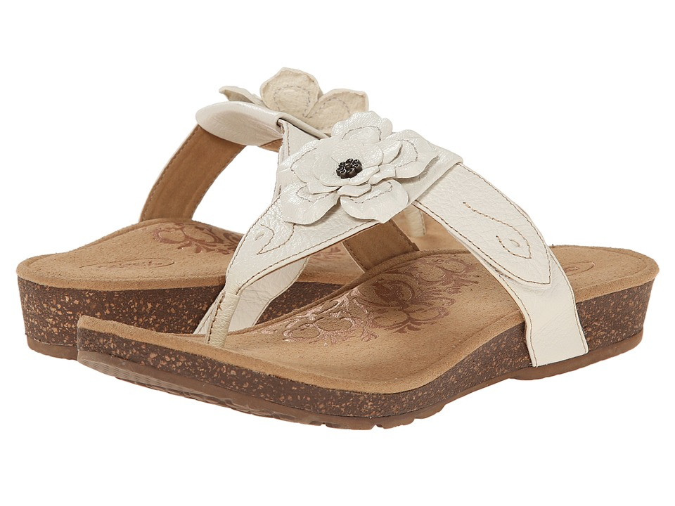 Aetrex Emily Rose Adjustable Thong Antique White Womens Sandals