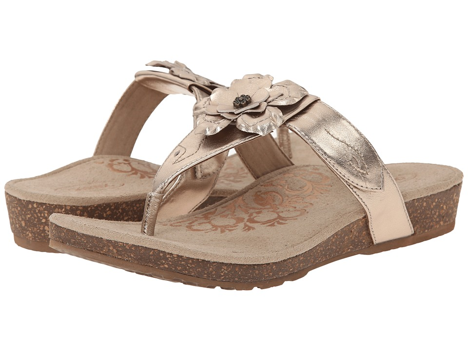Aetrex Emily Rose Adjustable Thong Gold Womens Sandals
