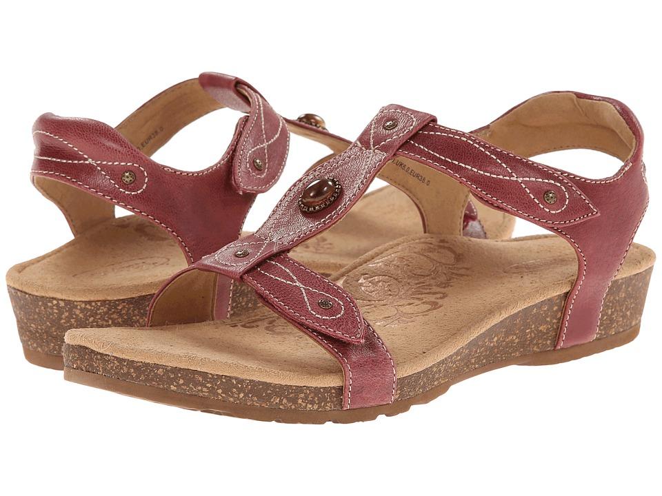 Aetrex Lori Adjustable Quarter Strap Aged Red Womens Sandals