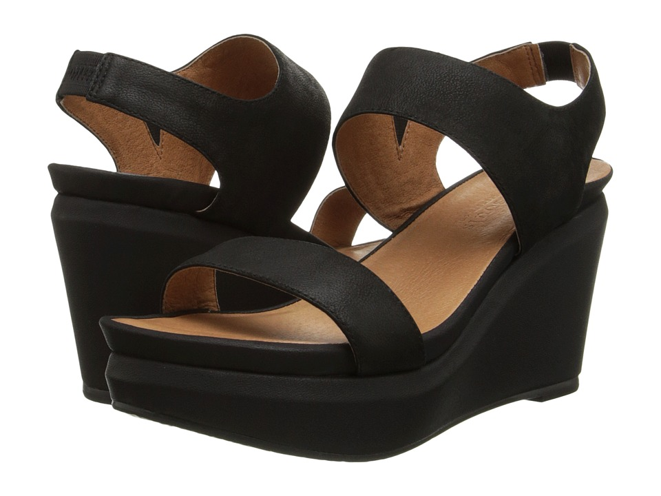 Gentle Souls Juniper Barry 3 Black Nubuck Womens Wedge Shoes