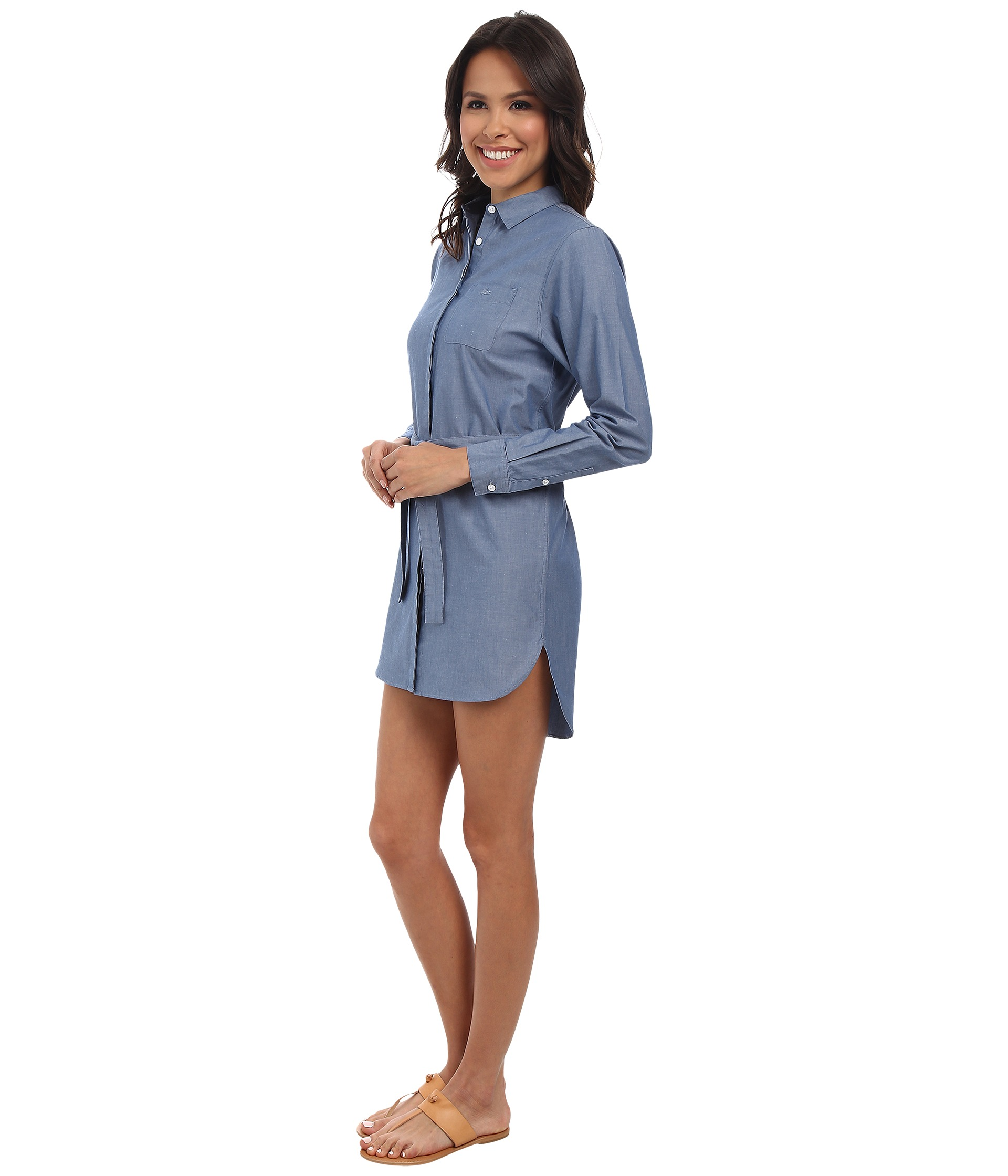 Lacoste long sleeve chambray shirt dress free for Chambray dress