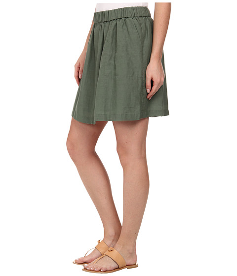 Lacoste Elastic Waistband Linen A-Line Skirt at 6pm.com