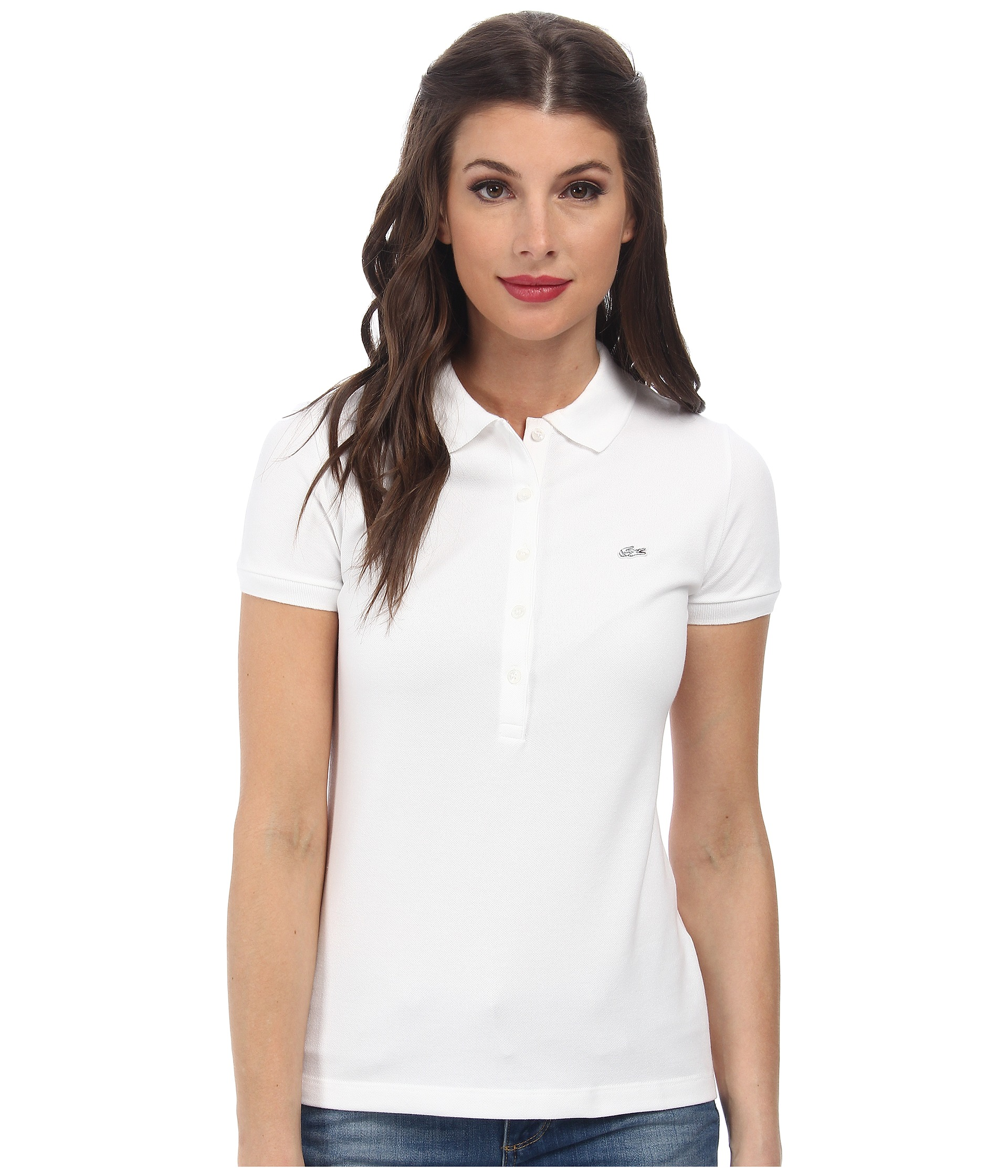 Lacoste short sleeve slim fit stretch pique polo shirt at for Short sleeve lacoste shirt