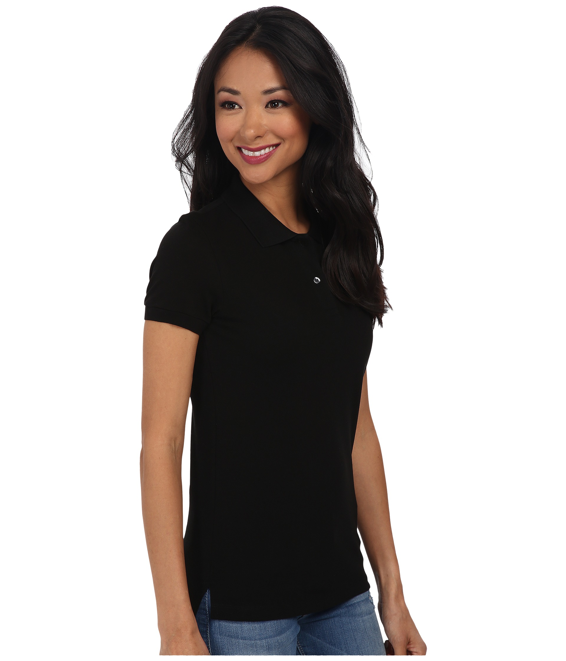 Lacoste short sleeve classic fit pique polo shirt black for Short sleeve lacoste shirt