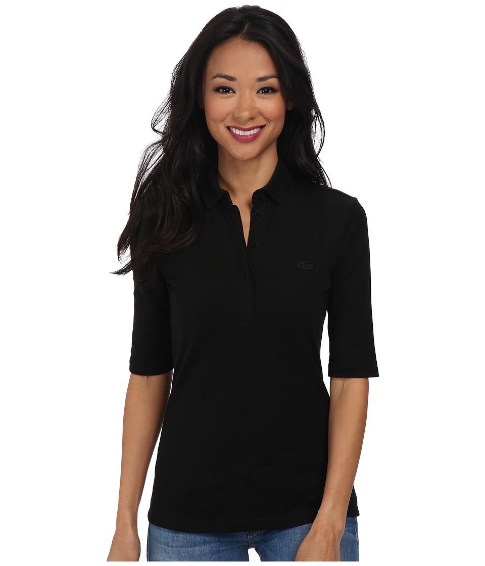 Lacoste Half Sleeve Slim Fit Stretch Pique Polo Shirt Black Womens Short Sleeve Knit