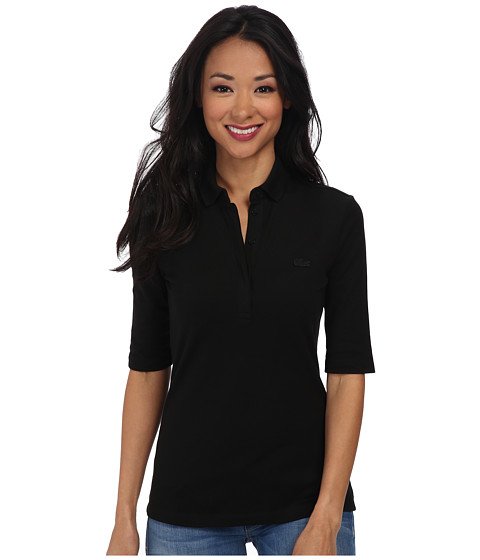 Lacoste Half Sleeve Slim Fit Stretch Pique Polo Shirt - Black