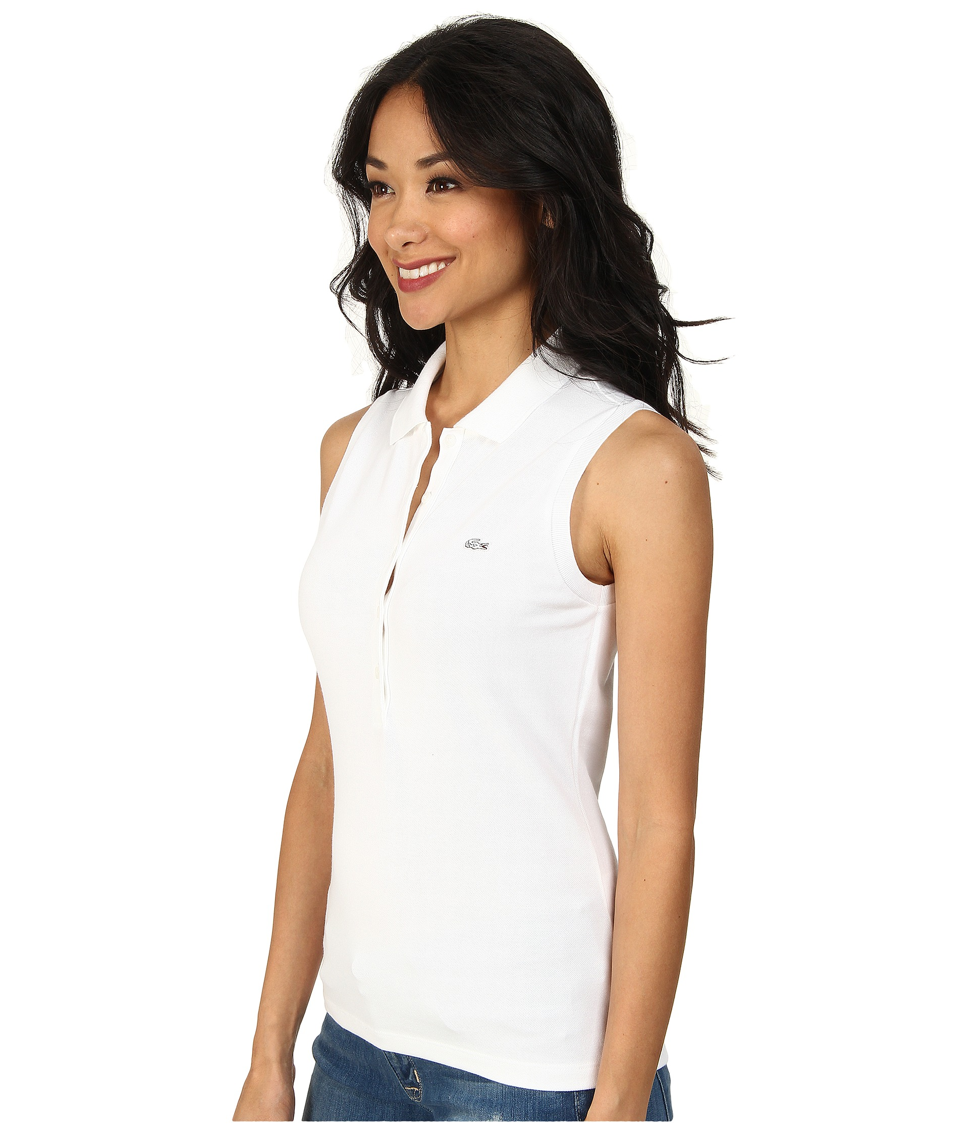 lacoste sleeveless slim fit stretch pique polo shirt at. Black Bedroom Furniture Sets. Home Design Ideas