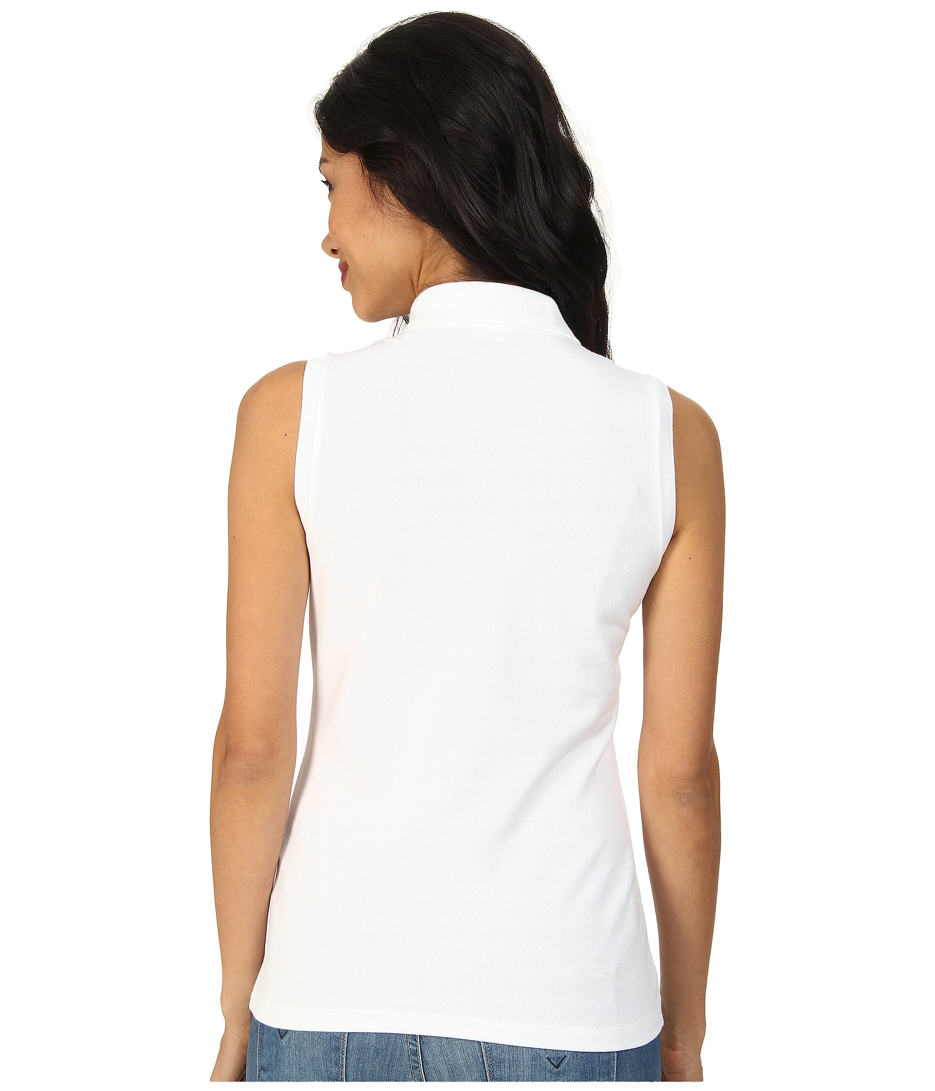 Lacoste sleeveless slim fit stretch pique polo shirt at for Lacoste poloshirt weiay