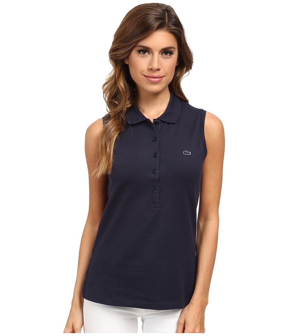 Lacoste Sleeveless Slim Fit Stretch Pique Polo Shirt (Nav...