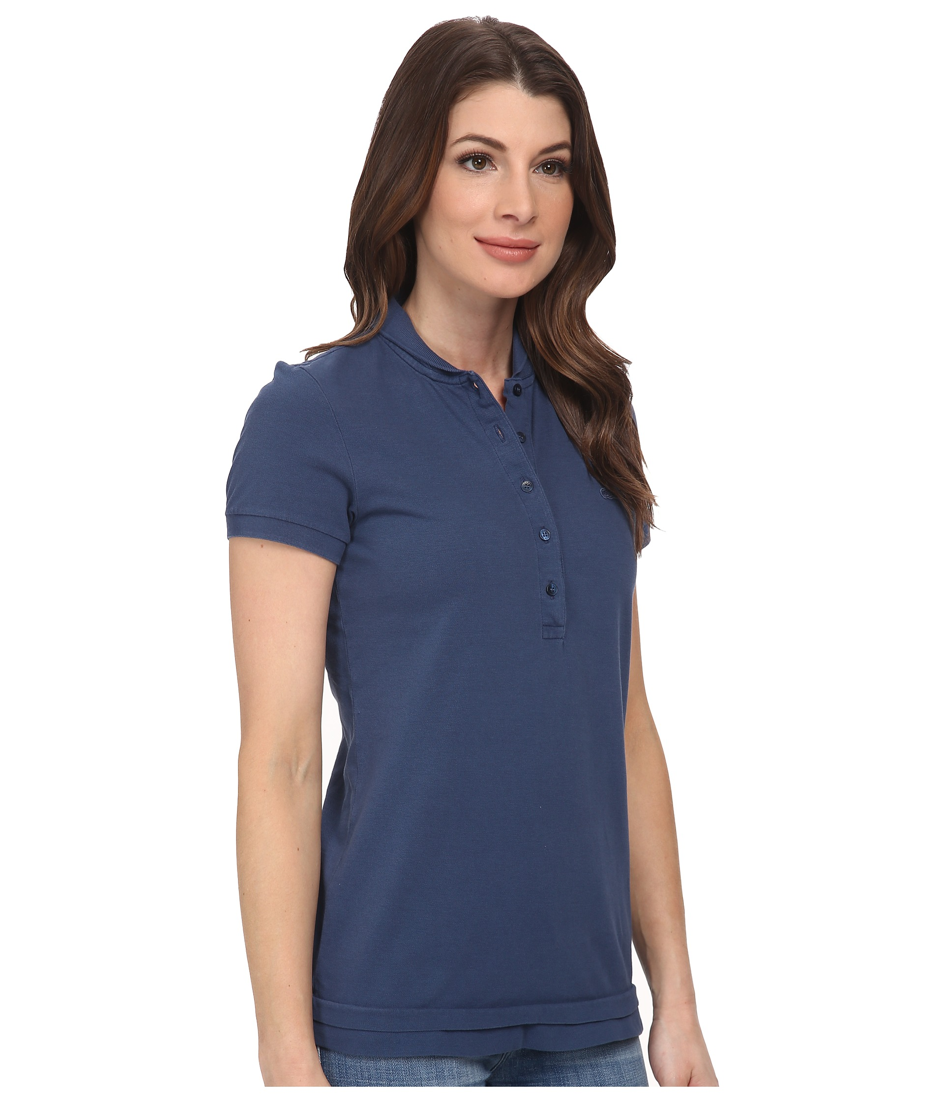 Lacoste short sleeve sun washed polo shirt for Short sleeve lacoste shirt