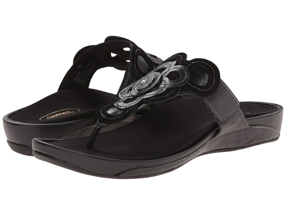 Aetrex Candace Thong Sandal Black Womens Wedge Shoes