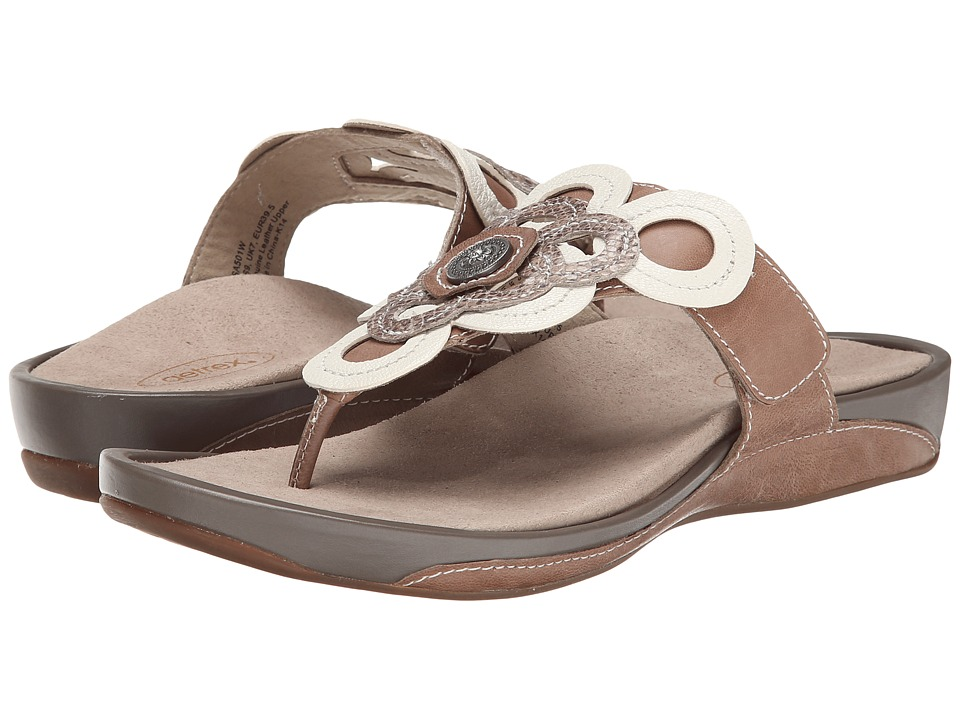 Aetrex Candace Thong Sandal Taupe Womens Wedge Shoes