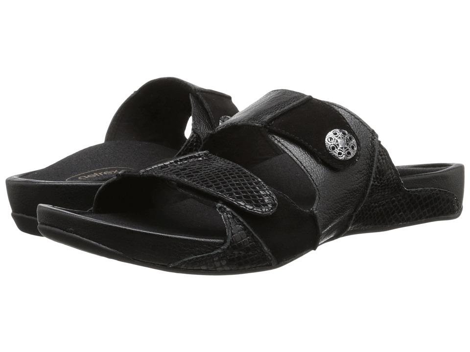 Aetrex Rebecca Adjustable Strap Black Womens Shoes