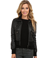 dollhouse - Multi Quilted Zip Bomber w/ Zip Up Knit Collar & Trim