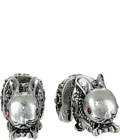 Betsey Johnson - BJ's Menagerie Silver Bunny Front Back Stud Earrings