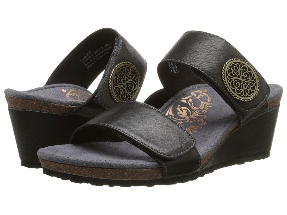 Aetrex Marilyn Wedge Sandal Black Womens Wedge Shoes