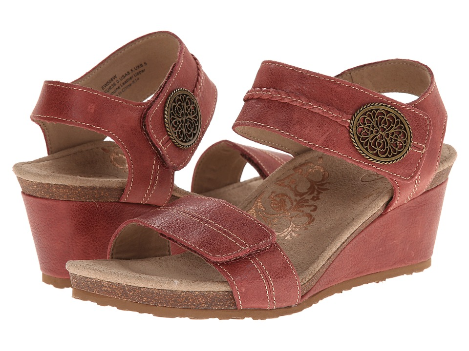Aetrex Arielle Wedge Sandal Vintage Red Womens Wedge Shoes