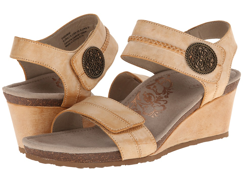 Image of Aetrex - Arielle Wedge Sandal (Latte) Women's Wedge Shoes