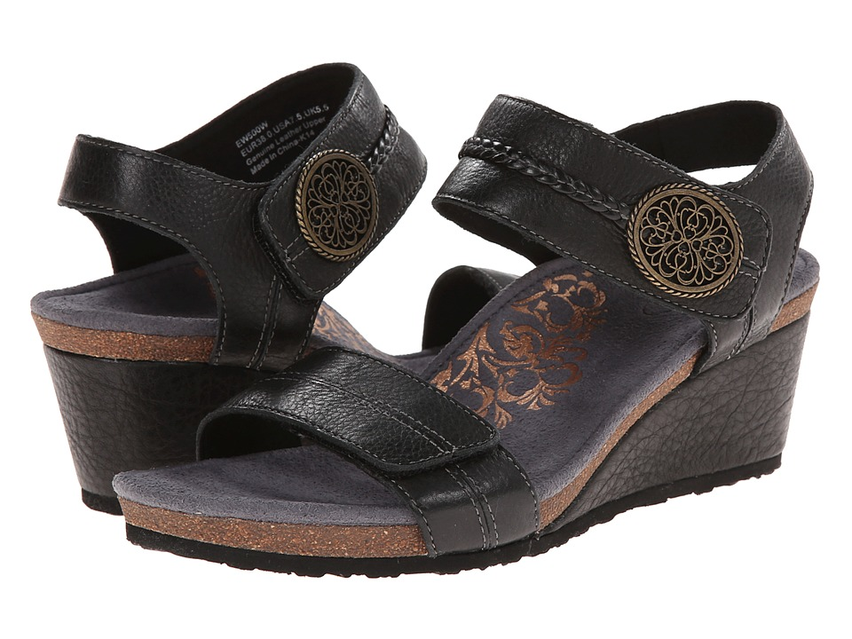 Aetrex Arielle Wedge Sandal Black Womens Wedge Shoes