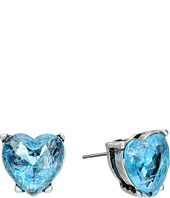 Betsey Johnson - Lady Lock Crackle Heart Stud Earrings