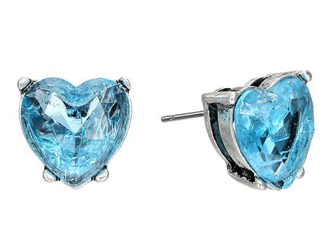Betsey Johnson Lady Lock Crackle Heart Stud Earrings