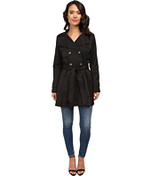 DKNY - Double-Breasted Short Hooded Trench Coat