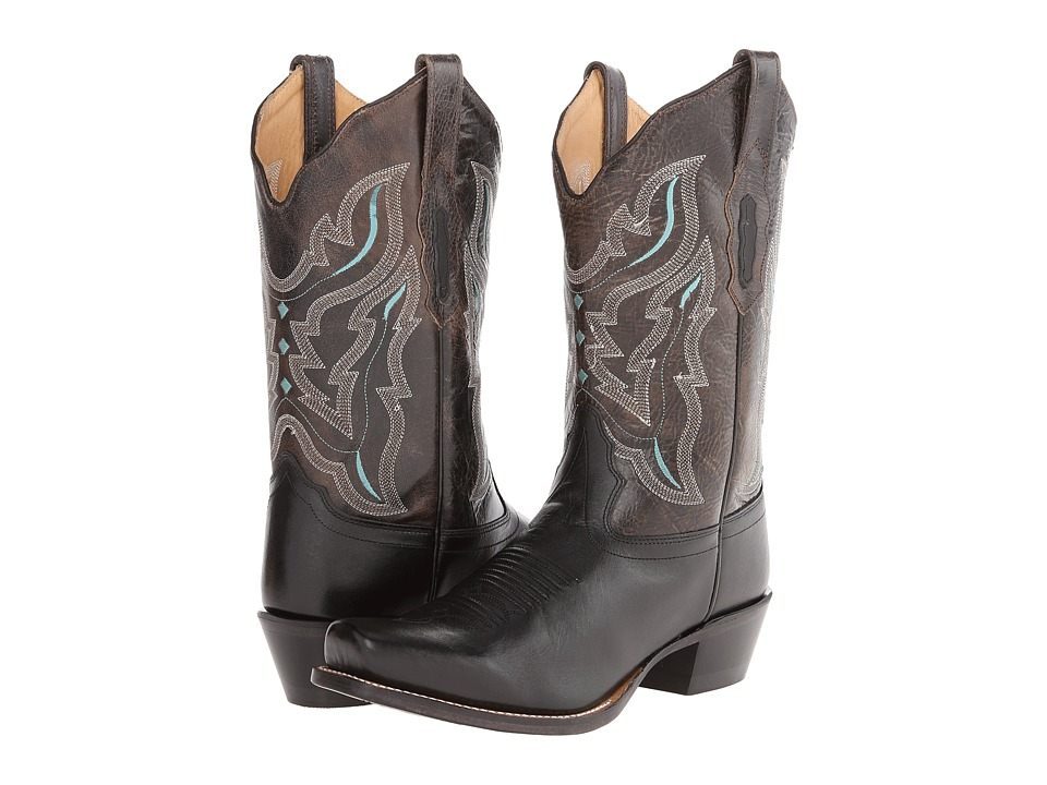 Old West Boots - 18008 (Black/Charcoal Grey) Cowboy Boots