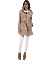 DKNY - Single Breasted Hooded Belted Trench Coat