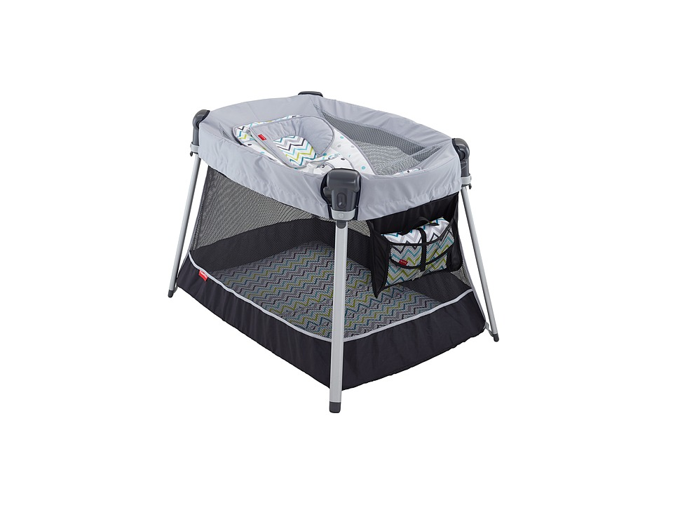 Fisher Price Ultra Lite Day Night Play Yard Grey Chevron Strollers Travel