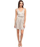 Donna Morgan - V-Neck Short Shimmer Lace Dress w/ Belt