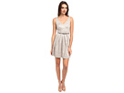 Donna Morgan V-Neck Short Shimmer Lace Dress w/ Belt (Sandstone)