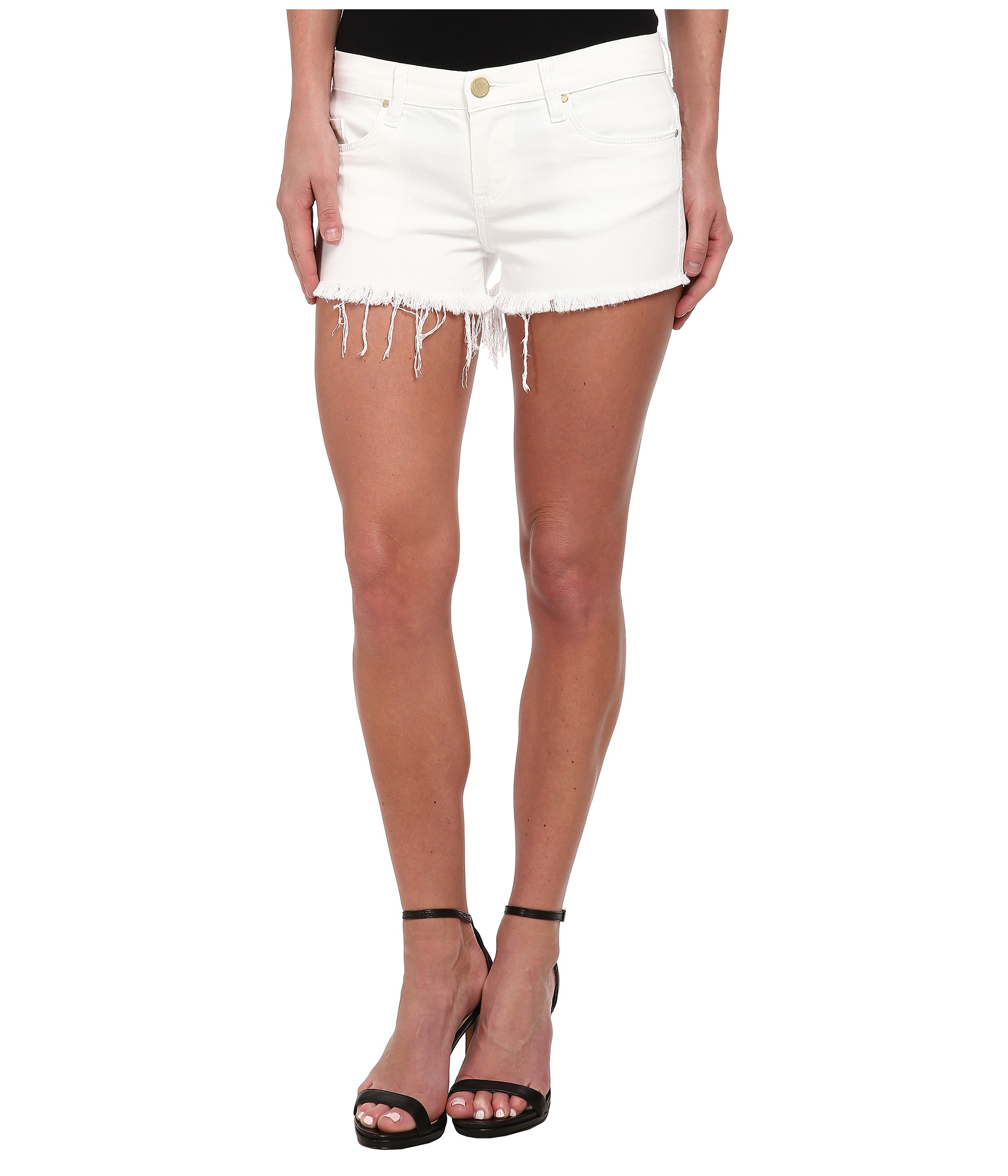 Blank NYC White Denim Short - Raw Cut Off Finish in White Lines at ...